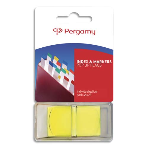 Code 3924756, Désignation: PERGAMY Set de 50 index marque-pages standards 2,5 x 4,3 cm. Coloris jaune